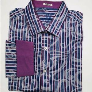 Bugatchi Uomo Shaped Fit shirt 3XL purple Paisley